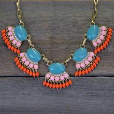 Primrose Turquoise Fan Fringe Necklace Set   Amazing Lace