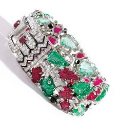 """Record Breaking Auctions for 2014 - Antique Sales Topping the Charts: Cartier """"Tutti Frutti"""" Bracelet"""