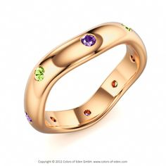 EMOTIONS   Designer Ring with Amethyst and Peridot in 18k Rose Gold