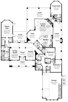 "Floor Plan. The Sater Design Collection's luxury, Mediterranean home plan ""Caprina"" (Plan #8052). saterdesign.com"