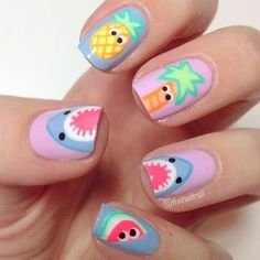 Stunning Fruit Nail Art Ideas That Refresh Your Summer 14 - Fashion trends change from time to time and there is no end to the innovative nail art designs and accessories that are used to beautify nails. Diy Nail Designs, Simple Nail Designs, Nail Designs For Kids, Fruit Nail Designs, Beach Nail Designs, Love Nails, Pretty Nails, Fruit Nail Art, Cute Summer Nails