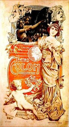 Afiche inaugural del Teatro Colon, año 1908.-