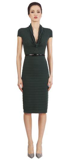 Catherine Malandrino: 3/4 length ribbed dress with vinyl belt