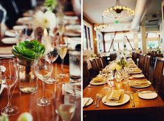 Table settings at Town Hall Restaurant wedding reception, San Francisco. Tinywater Photography, http://tinywater.com.