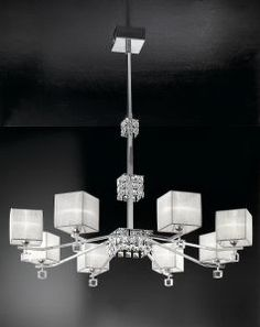 Modern 8 Light Ceiling Pendant with Crystal Cubes