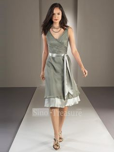 This is so pretty and so sophisticated too. Silver grey taupe tie waist dress