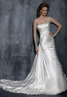 One Shoulder Floor Length A line Asymmetric Waist Satin With Beading Wedding Dress
