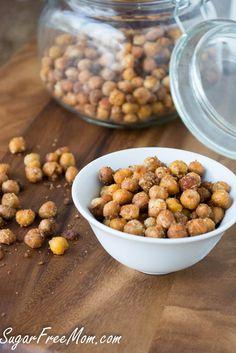Garlic Parmesan Roasted Chickpeas/ sugarfreemom.com