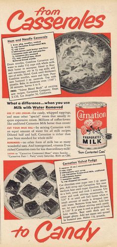 1950 Ad for Carnation Evaporated Milk with Recipes for Ham and Noodle Casserole & Carnation Velvet Fudge