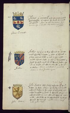 Book of English heraldry, Arms of Thomas Cromwell (at the top), Arthur, and John Sutton