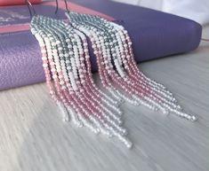 Items similar to Pink dangle earrings - Beaded tassel earrings - Native American earrings - Statement jewelry on Etsy Beaded Tassel Earrings, Bar Stud Earrings, White Earrings, Etsy Earrings, Green Earrings, Fringe Earrings, Boho Earrings, Native American Earrings, Stud Earrings