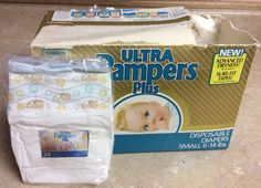 1987 Vintage Ultra Pampers Plus Diapers with Dry Bears