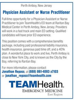 Physician Assistant or Nurse Practitioner wanted in Perth Amboy New Jersey | NEWS-Line for Healthcare Professionals #PA #NP #AlliedHealth #EmergencyMedicine