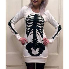 skeleton sweatshirt dress| $9.23 nu goth pastel goth creepy cute punk creepy kei goth fachin sweatshirt top dress skeleton bones under10 under20 under30 rosewholesale