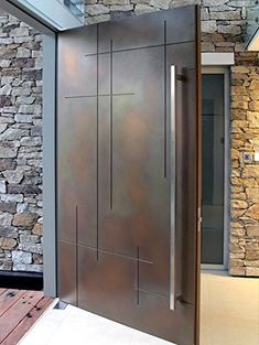 """107 Square-shaped Modern Stainless Steel Handles  Interior & Exterior Pair 60"""" Amazon.ca ~ $330"""