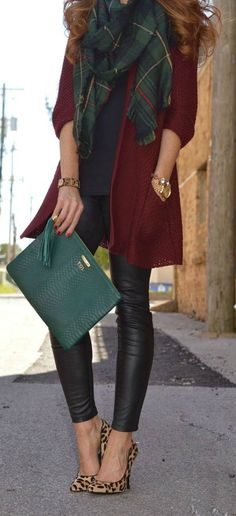 Great fall outfit. A pair of leopard heels or flats always adds an extra punch to an outfit.