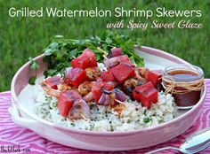 Grilled Watermelon and Shrimp Skewers with Spicy Sweet Glaze -- a fast, flavorful recipe for summer suppers. Sure to get you out of the same-old-dinner rind . . . I mean, grind!  @all4watermelon #LivingOnTheWedge | thefitfork.com
