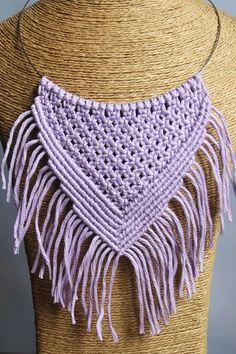 Diy Macrame Necklace Tutorial, Macrame Jewelry, Crochet Top, Make It Yourself, Women, Twine Crafts, Necklaces, Bangle Bracelets, Woman