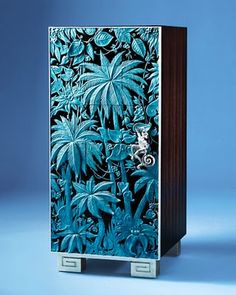 Curious cabinet: Marmouset Jungle cabinet by Jean Boggio for Franz. Wood frame piece with brass monkey handle. Industrial Design Furniture, Furniture Design, Blue Rooms, Dream Decor, Elle Decor, Jewellery Display, Shades Of Blue, Objects, Art Deco