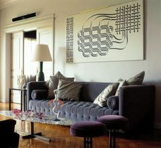 Creating a stylish, simple & handmade home. Home Renovation, Interior Rugs, Interior Design, Interior Decorating, Decorating Ideas, Velvet Tufted Sofa, Home And Living, Living Rooms, Living Spaces