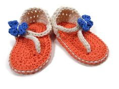 Crochet Toddler Sandals Salmon with a Beige Straps by WoodNHook