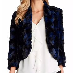 NEW Cynthia Steffe Faux Fur Crop jacket Perfect for spring! Beautiful CeCe by Cynthia Steffe faux fur crop jacket. Quality of faux fur is excellent. Length from shoulder is 19 inches. Can be worn over shirt and denims or dress as shown in pics. In New and unworn condition. Cynthia Steffe Jackets & Coats