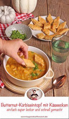 Butternut-Kürbiseintopf mit Käseecken. Eintöpfe Rezepte, Kürbis Rezepte: Rezept für einen Kürbiseintopf. Die Grundversion ist vegan bzw. vegetarisch und sie kann wunderbar abgewandelt werden. Der Eintopf ist schnell und einfach gemacht. #eintopf #kürbis #kochen #vegan#vegetarisch #gemüse #deutsch #rezepte Fabulous Foods, Pumpkin Recipes, Easy Peasy, Curry, Good Food, Tasty, Favorite Recipes, Recipe Share, Ethnic Recipes