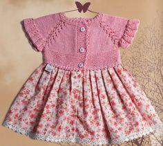 Baby girl dress ~ Knit bodice, top-down raglan, lace on raglan lines, ruffles on sleeve cuffs ~ Fabric skirt ~ (DMC)Цветы для дома-011