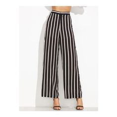 SheIn(sheinside) Black Vertical Striped Wide Leg Pants ($20) ❤ liked on Polyvore featuring pants, black, long wide leg pants, high-waisted trousers, high waisted wide leg trousers, wide leg trousers and stripe pants