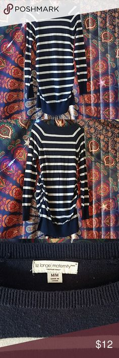 Maternity sweater Navy blue and white stripped maternity sweater. Has slits and is roughed on the sides. Has lots of stretch! 32 inches from the top of the shoulder to the bottom. Great with leggings or jeans! Has a small amount of wear but still in very clean condition. I have more maternity clothes available and do discounts on bundles! Liz Lange Tops Tunics