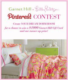 Garnet Hill   Lilly Pulitzer Dream Dorm Room Pinterest Contest Kid Rooms, Dorm Rooms, Dorm Ideas, College Life, My Dream Home, Apartment Ideas, Lilly Pulitzer, Garnet, Living Spaces
