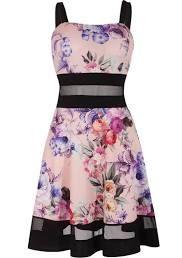 Italy Moda Sommerkleid knielang ohne Ärmel Blumenmuster Schwarz-Rosa-Lila
