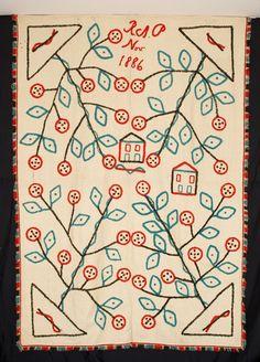 Homespun Wool and Turkeywork Folk Art  Dated November 1886 and initialed RAP  62 x 88 New Hampshire