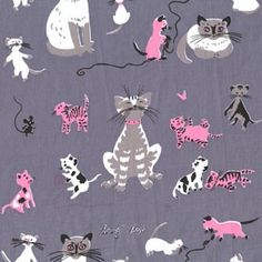 Cats on Grey Tammis Keefe Michael Miller by NauvooQuiltCo on Etsy, $4.95