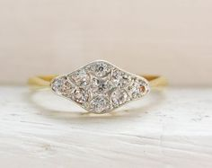 Vintage Art Deco Diamonds 14K Yellow Gold Engagement Ring
