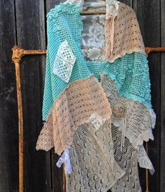 CUSTOM made to order rustic Turquoise teal Prairie Girl Shabby Crochet Shawl Shrug Vintage Laces roses Tattered