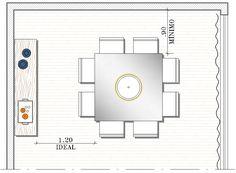 PLANTINHA O ponto principal na escolha da mesa é a proporção que ela deve ter em relação ao espaço disponível. É importante que o espaço ao redor da mesa seja de no mínimo 0,90cm para permitir a circulação, mas se o espaço permitir, a circulação de 1,20m é a medida ideal. Essa medida vai definir tanto o tamanho quanto o formato da mesa.