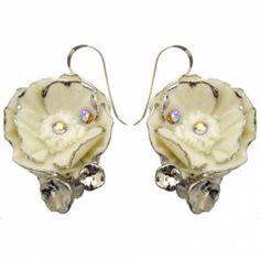 Porcelain Silver Peony drop earring/ Peony earrings/ dangle earrings/ ceramic flower earrings/ porcelain drop earrings/ flower earrings