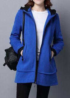 Long Sleeve Zipper Up Pocket Blue Hoodie on sale only US$44.41 now, buy cheap Long Sleeve Zipper Up Pocket Blue Hoodie at liligal.com