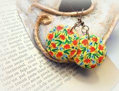 Painted paper mache earringsfloral earringsecoearth by cukipokshop