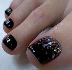 Gel Toe Nails, Black Toe Nails, Edgy Nails, Toe Nail Art, Stylish Nails, Toenail Art Designs, Nail Art Designs Videos, Pedicure Designs, Pedicure Nail Art