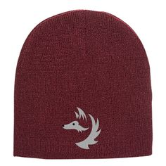 Fox Face Embroidered Knit Beanie