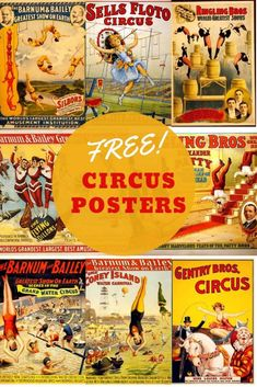 A fabulous collection of vintage circus posters from the greatest show on earth. Featuring many circus performers from elephants to clowns and acrobats. #circus #advertisingposters #vintage graphics