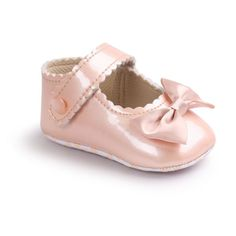 China Infant Baby Girls First Walkers Soft Sole PU Leather Bebe Crib Bow Shoes 0-18 Months Moccasins Baby Shoes #Affiliate