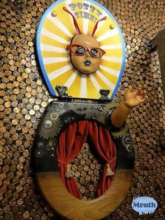 Looking for unique bathroom design ideas? How about toilet seat art? Potty Mouth Tours give a close up look at Scum of the Earth Church's bathroom art . Bathroom Humor, Bathroom Art, Bathroom Ideas, Doll Head, Doll Face, Easy Craft Projects, Easy Crafts, Red Curtains, Bedroom Curtains