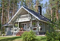 Tradycyjne domy z bali.