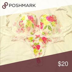 Victorias Secret bra and thong set Pink, yellow and green floral rhinestone encrusted lace bra with matching thong underwear. Victoria's Secret Intimates & Sleepwear Bras