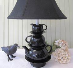 Teapot-Teacup-Saucer Lamp - 40 Ideas of How To Reuse Tea Cup Artistically