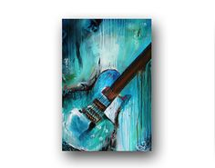 Guitar Painting Abstract Painting Large Original Painting on Canvas Contemporary Wall Art Palette Knive Textured Blue & Teal 36 Heather Day Guitar Painting, Guitar Art, Music Painting, Body Painting, Original Paintings, Original Art, Contemporary Wall Art, Contemporary Artists, Painting Techniques