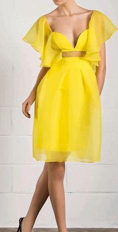 Bright yellow dress!